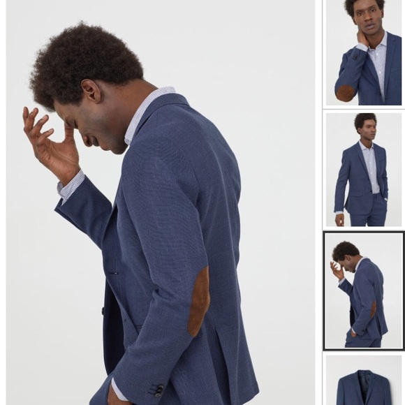 H M Suits Blazers Hm Mens Navy Wool Blazer With Elbow Patches